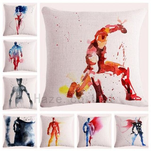 Decorative Throw Pillow Case Watercolor Marvel Superhero Comic Cushion Cover 18