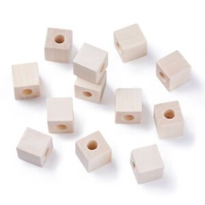 50pc-Wood-Beads-Cube-Large-Hole-Beads-Square-Wooden-Spacers-Large-Hole-Craft
