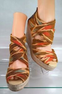 7e3ea220eb5 Bettye Muller Espadrille Multi-Color Fabric Strappy Wedge Sandal ...