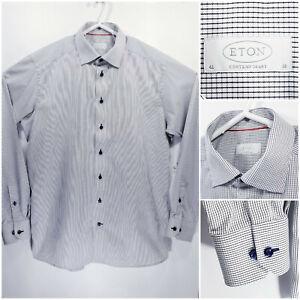 ETON-Contemporary-Mens-16-41-Long-Sleeve-Button-Up-White-Checks
