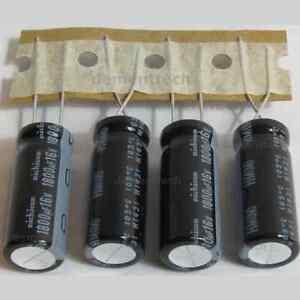 4x-Nichicon-HM-1800uF-16v-10mm-Low-ESR-radial-Capacitors-caps-105C-10x25