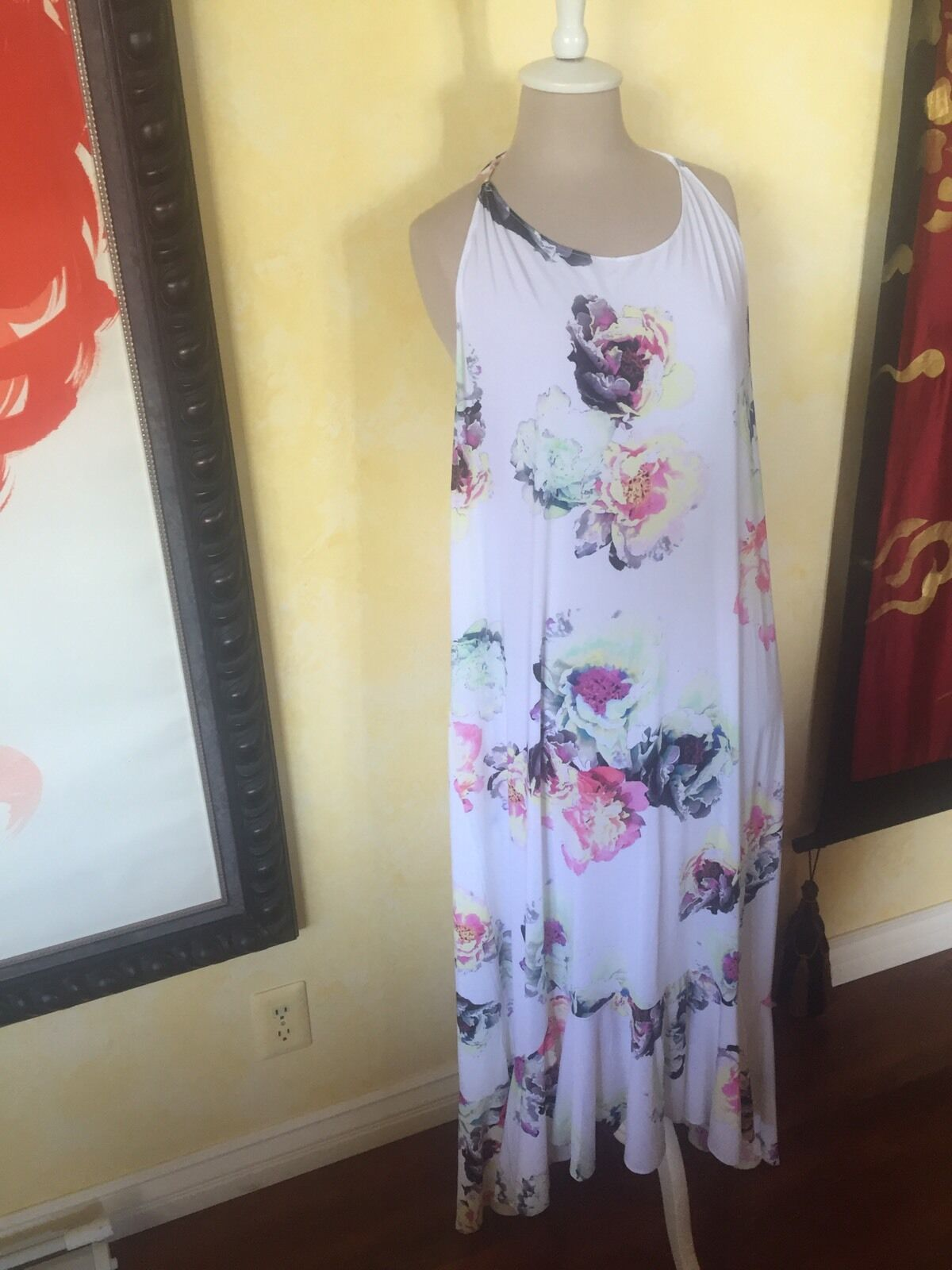 Pilyq Womens Flower Floral high low Maxi Dress M L Multicolor White NWT   154 NM