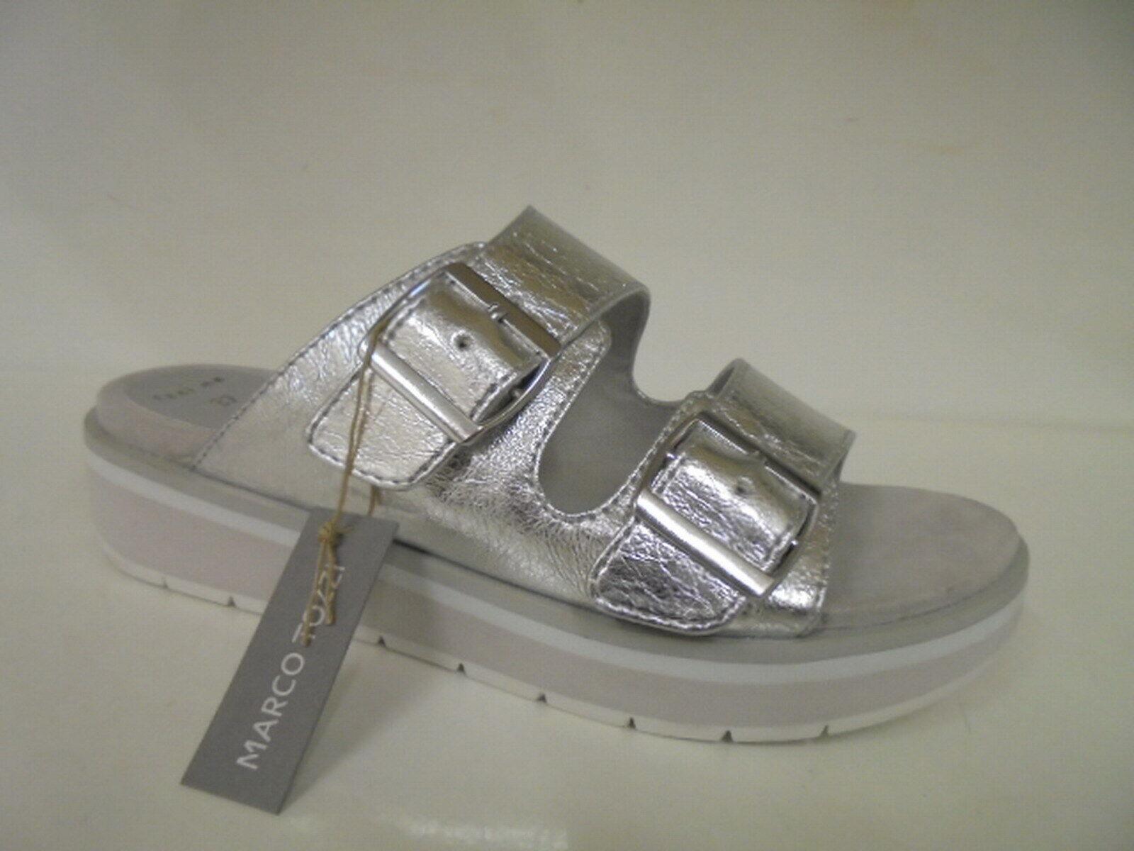27206 Marco Tozzi Damenschuhe Sandale Pantolette silber Gr. 39