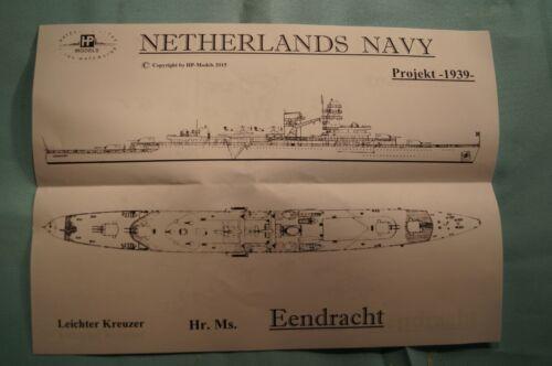 "HP Models 1:700 WL  Leichter Kreuzer der NL-Navy /""Eendracht  Projekt 1939"