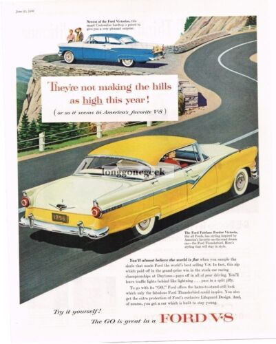 1956 Ford Fairlane Fordor Victoria Yellow Sedan art Vtg Print Ad