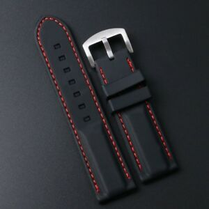 84a872787a9 Details about 18mm 20mm 22mm 24mm Black Silicone Rubber Watch Band Strap  with Red Line Stitch