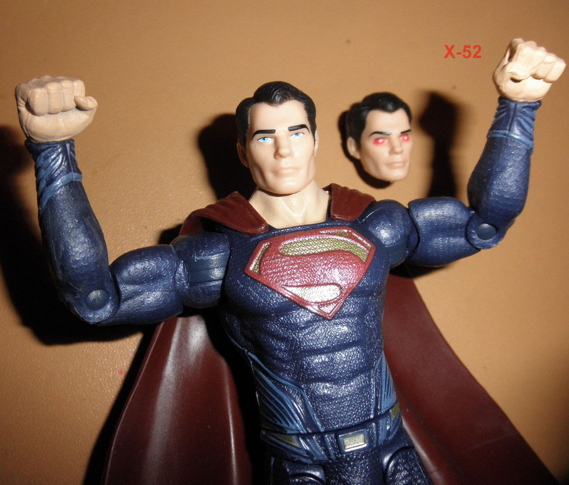 SUPERMAN MOVIE figure + RED EYES alt head toy DC henry cavill JUSTICE LEAGUE