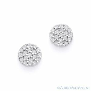 Cubic-Zirconia-CZ-Crystal-Pave-Circle-Stud-Earrings-925-Sterling-Silver-Rhodium