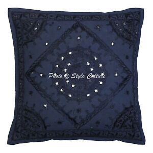 Decorative-Cotton-Pillow-Cover-Blue-16-x-16-Inch-Embroidery-Mirror-Cushion-Cover
