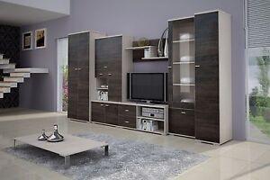Details Zu Wohnwand Mit Kleiderschrank 80cm Anbauwand Wohnzimmer Set 7 Tlg Tv Schrank