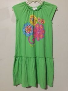 Hanna-Andersson-Size-150-Lemon-Green-Floral-Design-Girls-Kids-Flare-Dress