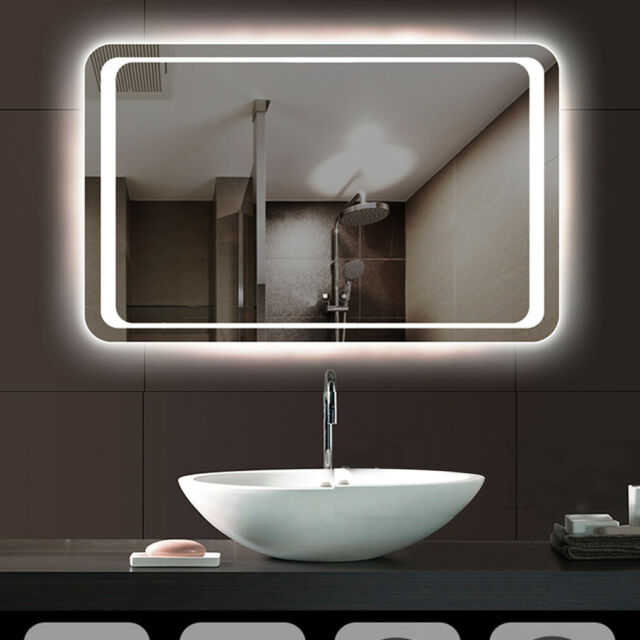 Modern Oval LED Lighted Bathroom Sink Mirror Touch Wall Mounted Fogless Backlit