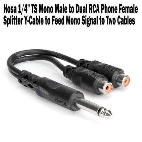 """Hosa 1//4/"""" TS Mono Male to Dual RCA Phono Female Y Splitter Cable Adapter NEW"""