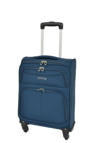 Cabine Taille 4 roues spinner bagage à main bagage à main SOFT Valise Sac Bleu