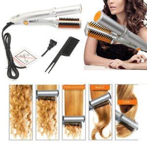2-IN-1-Pro-Hair-Straightener-Curling-Curler-Ionic-Styler-Ceramic-Hot-Brush-Flat