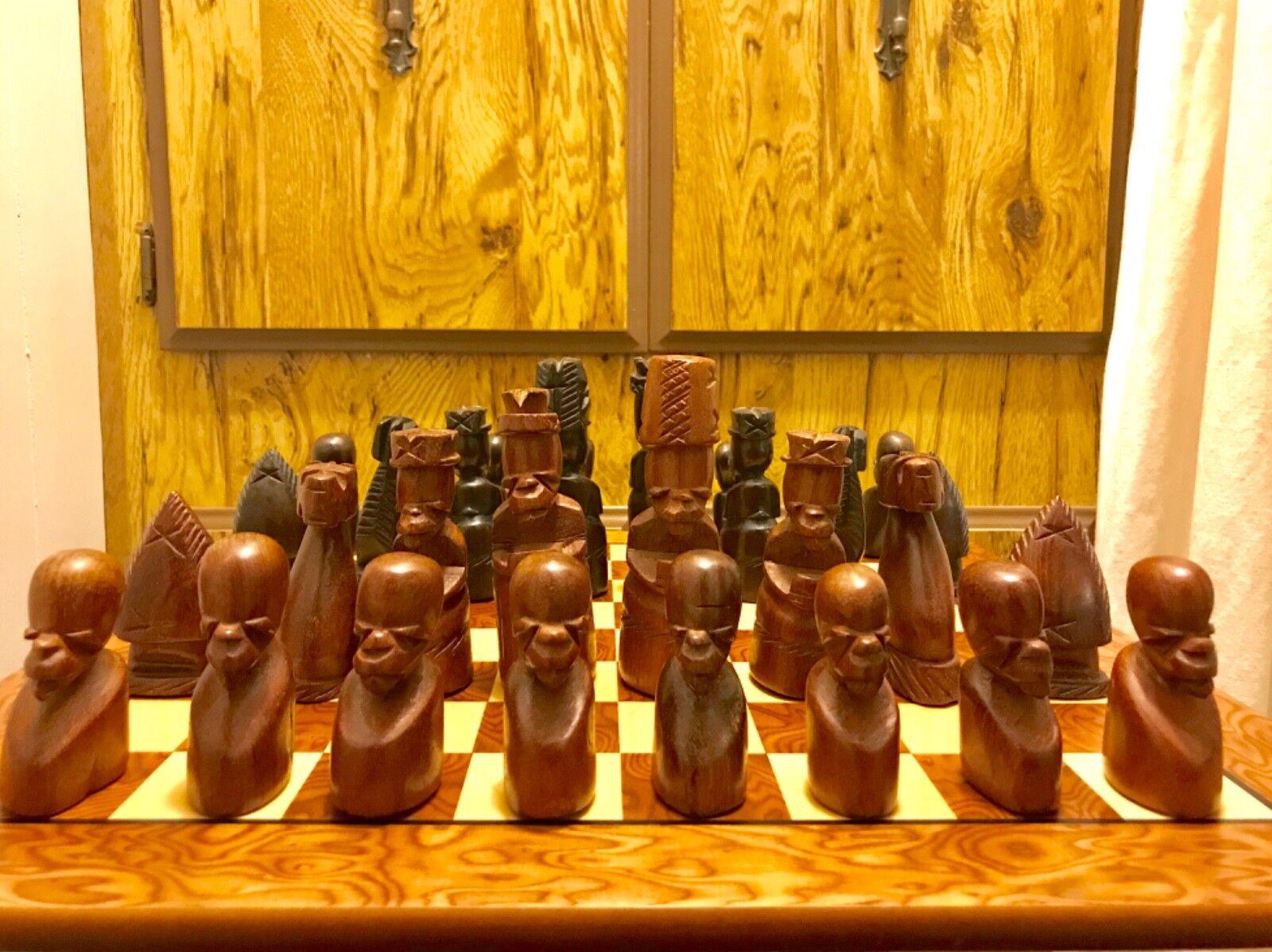 Vintage He autoved Senufo cifras Wood Chess Set 5   re + Lacquerosso scatola  ordina ora i prezzi più bassi