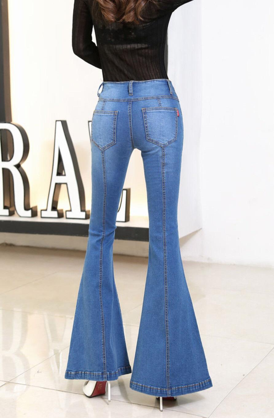 e7c772aba9e0cf Jeans Donna Pantaloni a Zampa Larghi Sotto Woman Denim Jeans JEA012 ...