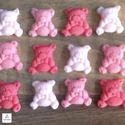Edible  teddy bear cake toppers made   with sugarpaste  12 per set