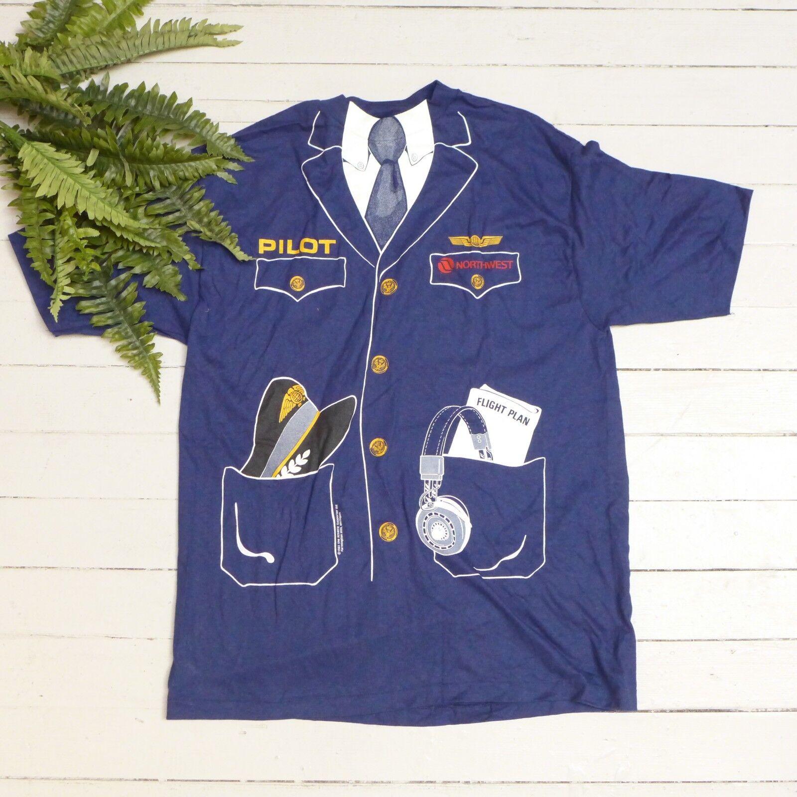 1eab69f640f812 Vintage 1981 Beefy Hanes Northwest Airlines Pilot Suit Pattern Shirt Size XL