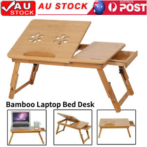 Folding Wooden Laptop PC Desk Lap Bed Tray Stand Dinner Notebooks Bamboo Table