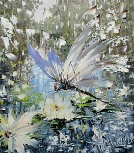 Hand-painted-dragonfly-water-flower-canvas-oil-painting-wall-art-hand-made