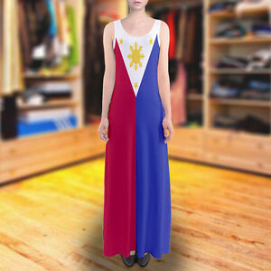 Details about Philippines Filipino Flag Sundress Sleeveless Long Maxi Dress  Size XS - 5XL Plus