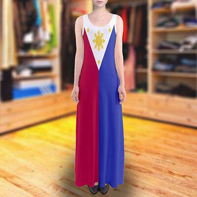 Philippines Filipino Flag Sundress Sleeveless Long Maxi Dress Size XS - 5XL  Plus | eBay