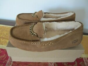 7f15857ca20 UGG Ansley Charms Brown Winter Suede Fur Moccasin Women's Slipper ...
