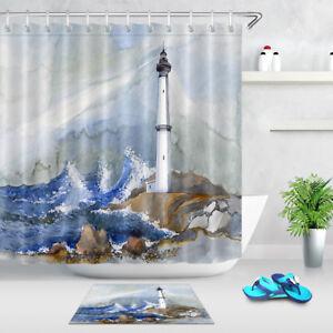 Image Is Loading Sea Painting Of Lighthouse Shower Curtain Set Bathroom