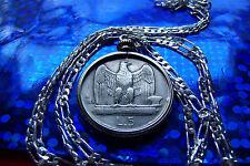 """1926-1930 Silver 5 Lire Italian Eagle Coin PENDANT ON A 30"""" 925 Silver Chain"""