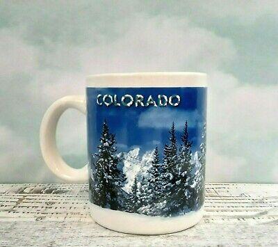 Colorado Coffee Mug Rocky Mountains Winter Snow Covered Pine Trees Ebay