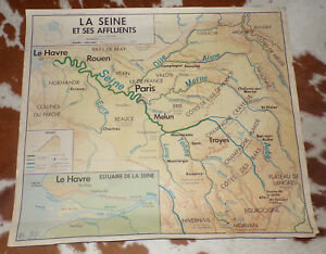 la seine et ses affluents carte ANCIEN CARTE SCOLAIRE MDI CÔTES de la MANCHE/La SEINE et Ses