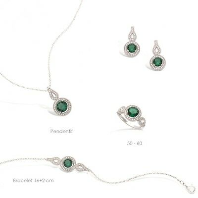 Dolly-Bijoux Parure 3PC Marquise Emeraude Entourage Diamant Cz Argent Massif 925