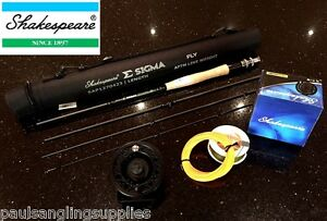 Shakespeare-Sigma-Fly-Fishing-Rod-Reel-Backing-amp-Fly-Line-Carbon-Fibre