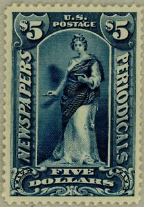 US-Scott-PR121-XF-centered-OG-1895-5-Newspaper-stamp-watermarked-sound