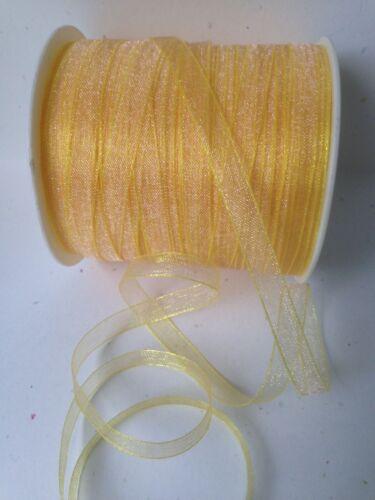 """5 Yards 1//4/"""" Inch Sheer // Iridescent Ribbon May Arts Yellow SN27"""