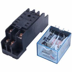 220-240V-AC-Coil-DPDT-Power-Relay-MY2NJ-8-Pin-w-Socket-Base-F2J6