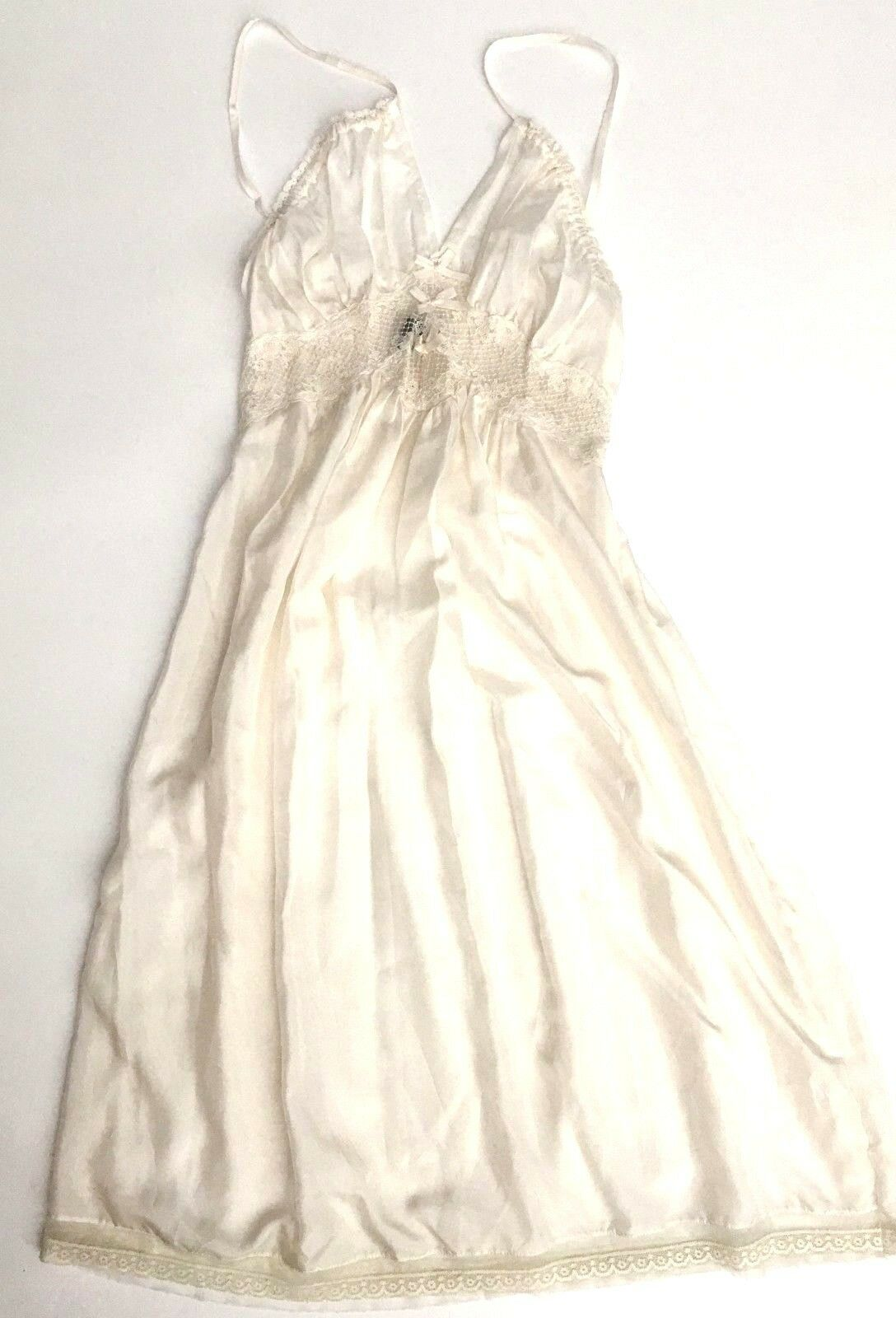 Lizalde slip bridal nightgown SILK full length chemise EXC condition cream S