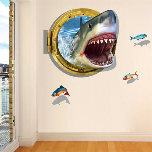 3D Shark Ocean Mural Removable Wall Sticker Art Vinyl Decal KidRoom Home DecorJH