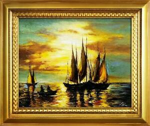 Painting-Oil-Picture-Frame-Ships-Schifftsfahrt-02428