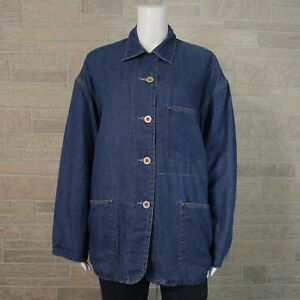 Ann-Taylor-Misses-SMALL-Oversized-Fit-Blue-Cotton-Lined-Button-Up-Barn-Jacket