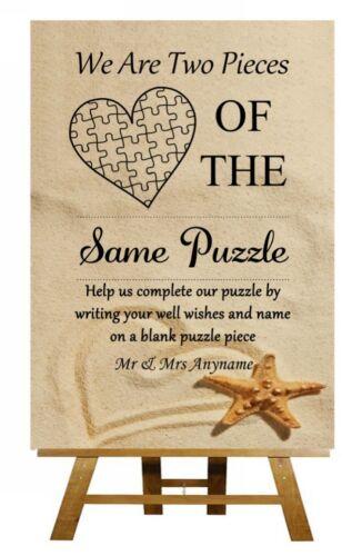 Sable de plage Puzzle Livre d/'or personnalisé MARIAGE SIGNE Poster