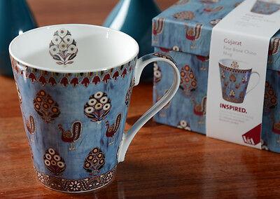 Set of 2 V&A Gujarat FINE BONE CHINA Mugs IN GIFT BOX Vintage Inspired