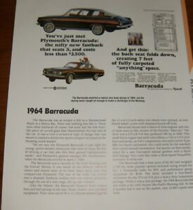 Details about ★★1964 PLYMOUTH BARRACUDA SPECS INFO PHOTO 64 CUDA 273 65★★