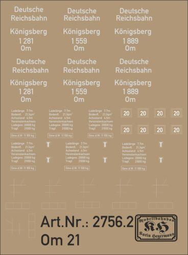 2756.1 étiquette pour wagons om21 1559 1889 pour voiture Königsberg 1281