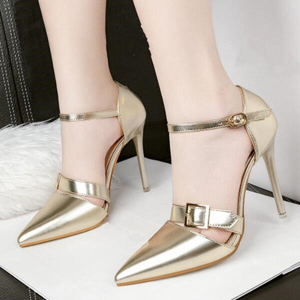 Pumps Schuhe Elegant Stilett 10.5 cm Gold VerGoldet Leder Kunststoff Cw586