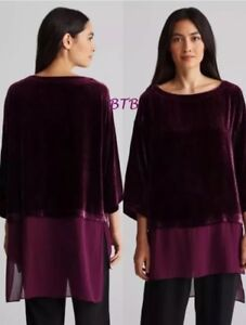 Hallo Bateau Sheer Hem lo Neck New Raisinette Xl Velvet Fisher Silk Tuniek Eileen OgH6z