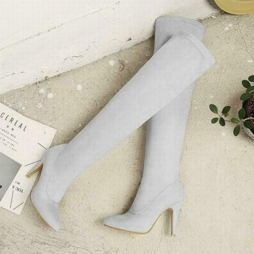 Female Pointed Toe Pull On Stiletto High Heel Over Knee Thight High Boots Casual