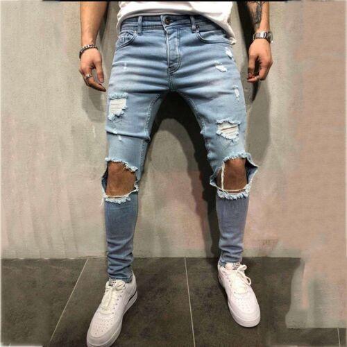 Herren Zerrissene Jeans Löcher Slimfit Passform Denim-Hose Zerstört Ausgefranst