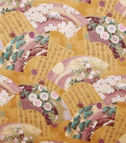 Japonés Kona Bay cuatro estaciones Ventilador Colección Oro cuarto Gordo Tela De Algodón